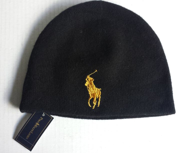 #POLO Ralph Lauren beanie wool  hat black BIG yellow PONY logo NWT RalphLauren visit our ebay store at  http://stores.ebay.com/esquirestore