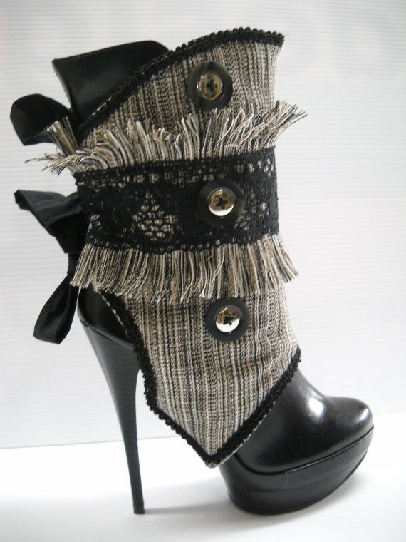 grey and black spats...I love these for some reason, but I doubt I could ever wear heels like that!