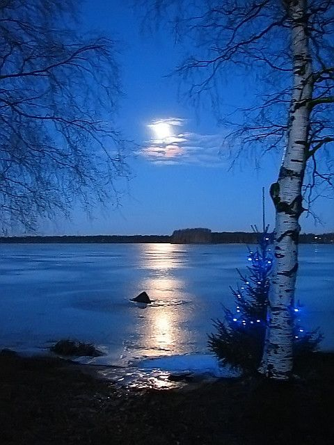 Moon reflection on ice. beautiful