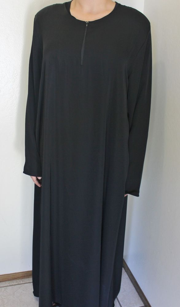 New Black Abaya Women Islamic Eid Clothing Hijab - Solid Plain Color - Model # 7 #Alestora #Casual