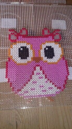 Owl hama perler beads by Susanne Damgård Sørensen