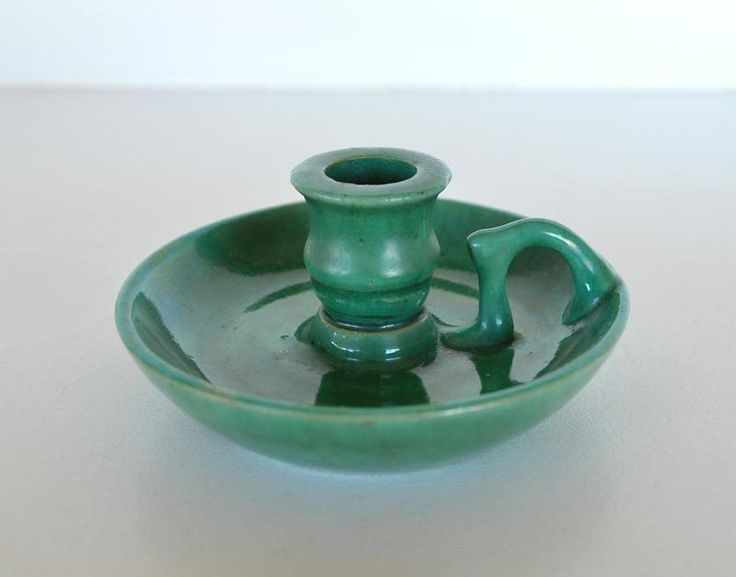 12.5cm x 5.5cm John Campbell Pottery Candle Holder Signed & Dated
