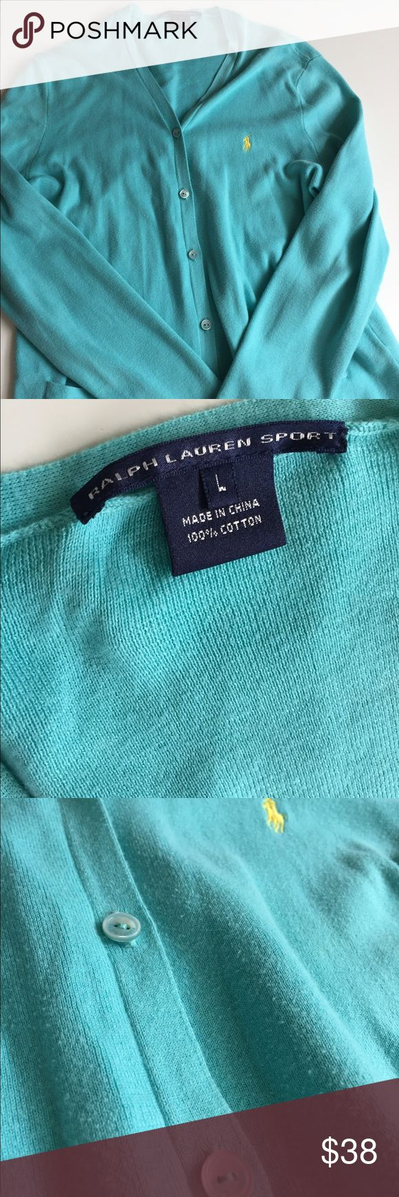 Ralph Lauren sport size large turquoise cardigan Ralph Lauren sport size large turquoise cardigan. Loved but still in great condition- up close of material shows what condition it's in. Ralph Lauren Sweaters Cardigans