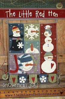 Snowman Joy - mini wool flag - Wool Applique - The Little Red Hen