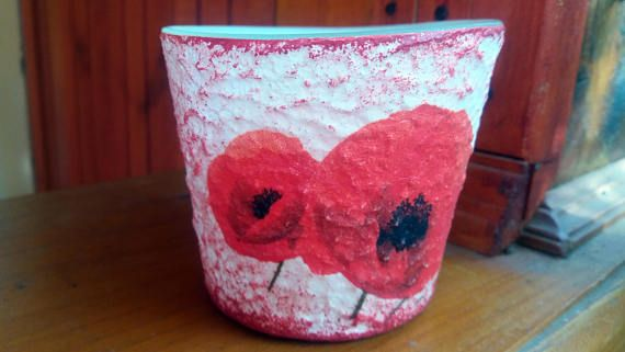 Poppy decor decoupage candleholder