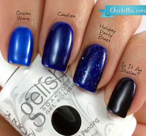 Chickettes Com Comparison Of Gelish Blues Hair Nails