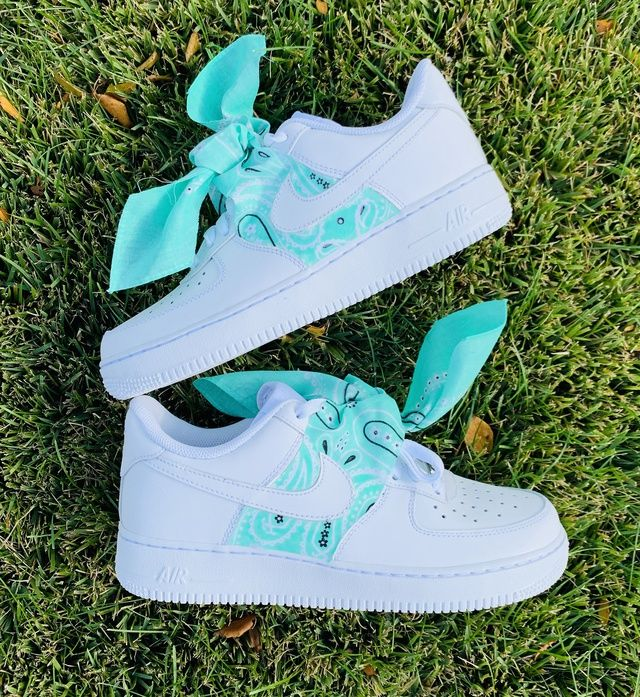 Teal Bandana Air Force 1 in 2020 Nike air shoes, Nike