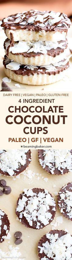 4 Ingredient Paleo Chocolate Coconut Cups (V, GF, Paleo): a 4-ingredient recipe for delicious coconut-filled homemade Mounds cups. Vegan, Paleo, GF.