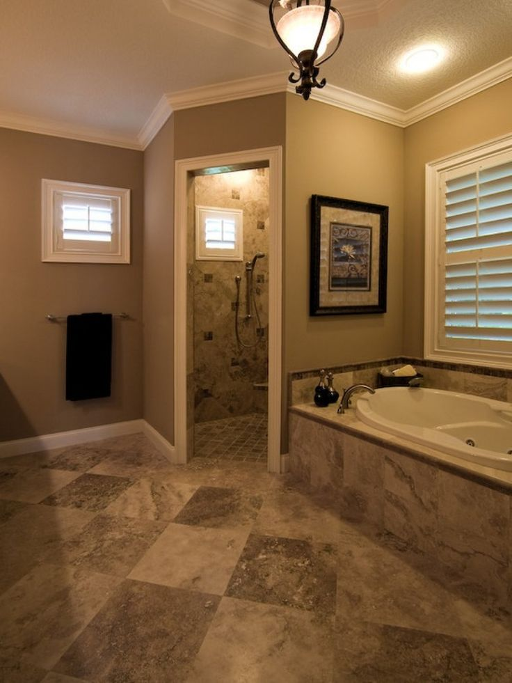 Removed Outdated Garden Tub And Shower Stall And Built A Large Walk In Shower With Multi