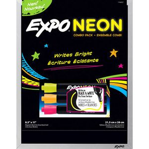 EXPO Black Dry Erase Board with 3 EXPO Neon Markers - for students with CVI.  Think of the many ways you can use!