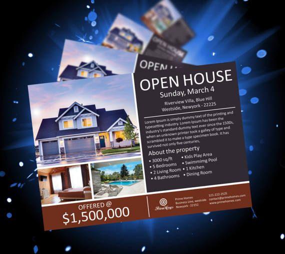 Real Estate Advertising Postcard Template  Editable in by Koreev