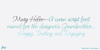 """Mary Helen JF Font Download  """" Mary Helen JF Font Download Download : http://ift.tt/2lglWru Gallery and Sample : http://ift.tt/2l6y6DI;  Mary Helen JF font - Released by Jukebox Collection and start debut at Jul 20 2017. Mary Helen JF font designed by Jason Anthony Walcott this font is perfect choice for your design.  Mary Helen from Jukebox is a warm and feminine script font that is bright and happy. Named after the designers paternal grandmother the typeface lends a sense of fun and joy to…"""
