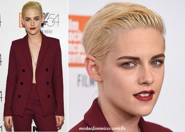 Cabelo curto - Short Hair- Kristen Stewart   http://modaefeminices.com.br/2016/10/04/look-do-dia-calca-e-terno-vinho-burgundy-de-kristen-stewart/
