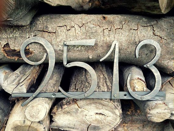 Hand forged house number. Metal number. Metal house by PanPanak