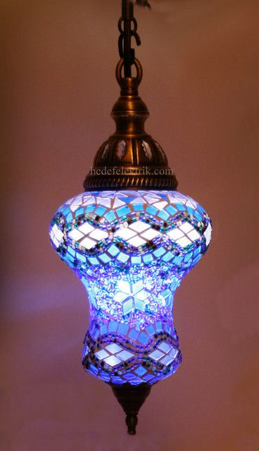 Blue Mosaic Turkish Style Colourful Pendant Lighting mediterranean pendant lighting