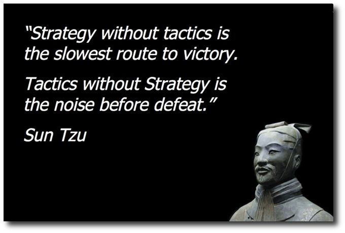 """Strategy without tactics is the slowest route to victory. Tactics without strategy is the noise before defeat."" Sun tzu #quote"