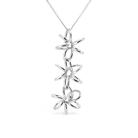 ACHICA | Maree London Lily 3 Drop Necklace, Silver