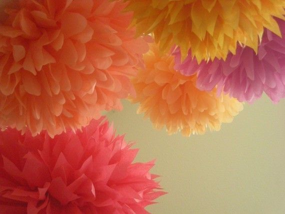 Paper Pom Poms: Birthday, Punch Drunk, Wedding Receptions, Parties Decorations, Color, Wedding Decorations, Tissue Paper Poms, Paper Pom Poms, Flower