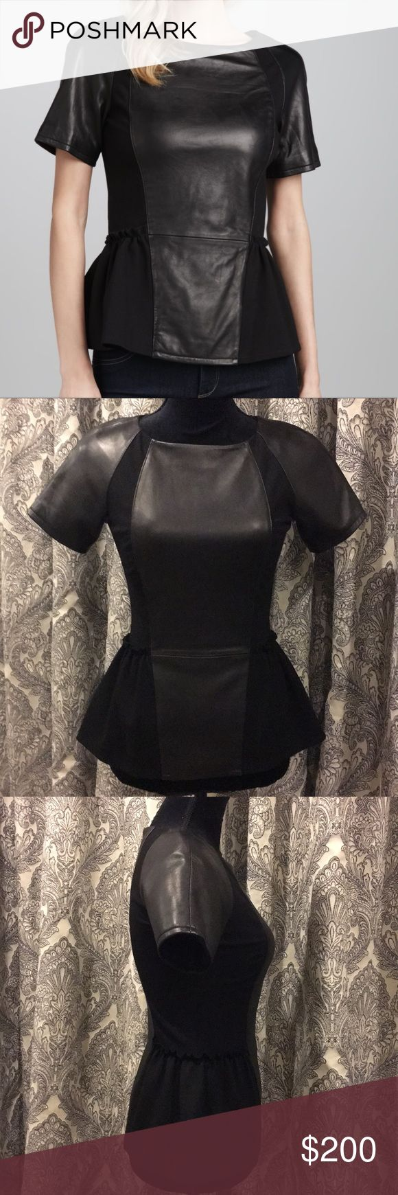 """REBECCA MINKOFF LEATHER PEPLUM TOP Black leather center front and back panel and leather short sleeves. Zipper back closure. EUC MANNEQUIN MEASURES 34"""" 26"""" 35""""  Very soft supple leather, size panels have some stretch.  Amazing fit!!!! Size 0 Rebecca Minkoff Tops"""