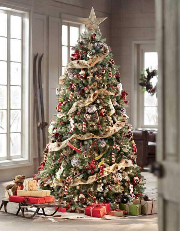25 Inexpensive Christmas Tree Decorating Ideas Farmfoodfamily Rustic Christmas Tree Beautiful Christmas Trees Rustic Christmas