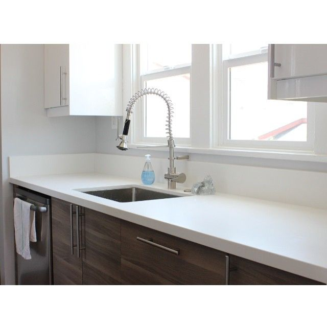 Clean!  Echo Park, CA | Brockhult Bases with Ringhult Upper Accents | Pure White Quartz Countertops #ikeakitchens #ikeakitchen #ikea