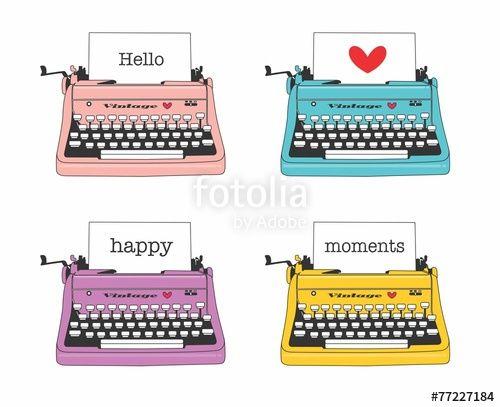 Vetor: máquina de escrever, retro, vintage