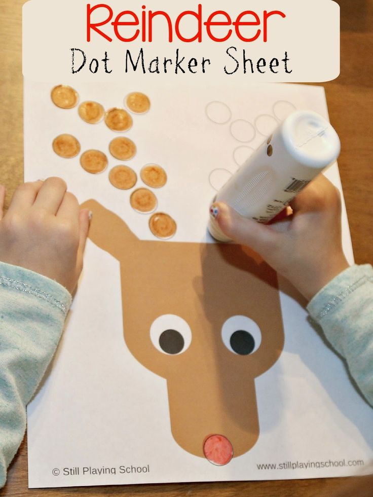 Reindeer Christmas Dot Marker Activity with FREE printable from Still Playing School