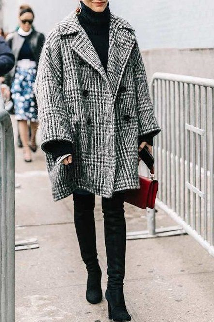 Keep warm with a turtleneck, an oversized grey plaid coat, and thigh high boots!