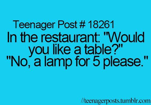 Well, since I work in a restaurant, I can defend us workers. We ask this because some people just come in to ask questions, or to use the restroom, or they eat at the bar. Probably about half the people who actually walk in don't sit at a table. That being said, it would make my day if someone said this to me.