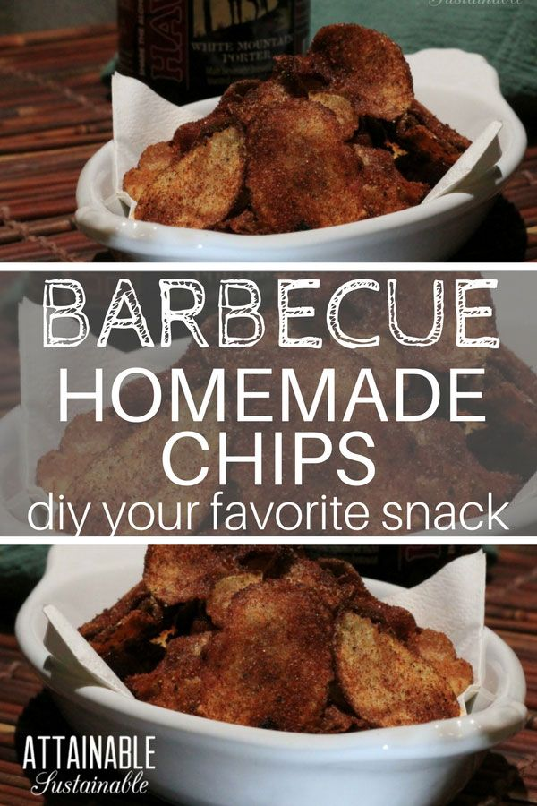 Have you ever considered making your own homemade barbecue chips? This recipe knocks the store bought versions out of the park. The barbecue chips flavor is an excellent replication of your favorite store bought snack. Serve them up with a burger. The flavor is amazing! #recipe #snack #homemade via @Attainable Sustainable