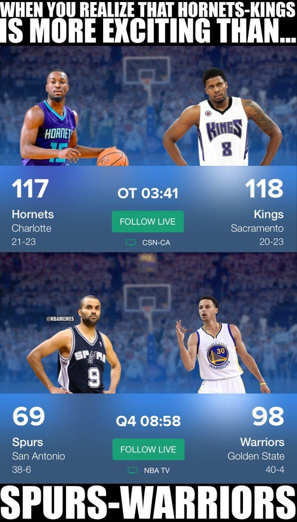 RT @NBAMemes: What's happening in the NBA today: #HornetsKings > #WarriorsSpurs. (Via @ClutchPoin - http://nbafunnymeme.com/nba-funny-memes/rt-nbamemes-whats-happening-in-the-nba-today-hornetskings-warriorsspurs-via-clutchpoin