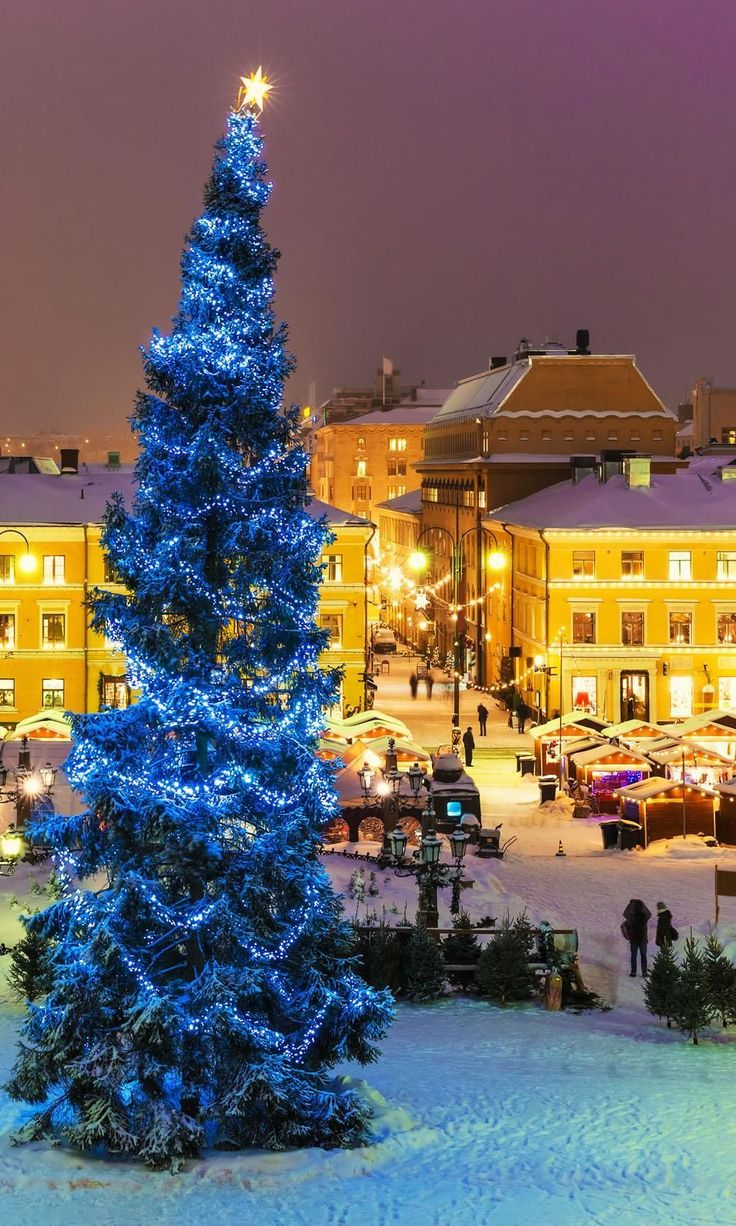 Winter night scenery of Senate Square with Christmas Tree and holiday market in Helsinki, Finland | 25 Impressive photos of Christmas celebrations around the World. #17 Is Awesome!