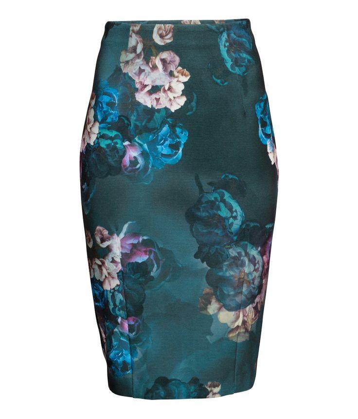 H&M dark floral pencil skirt