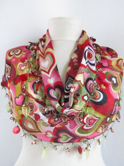 Hearts scarf Multicolor Turkish Yemeni OYA Scarf crochet by asuhan, $22.90