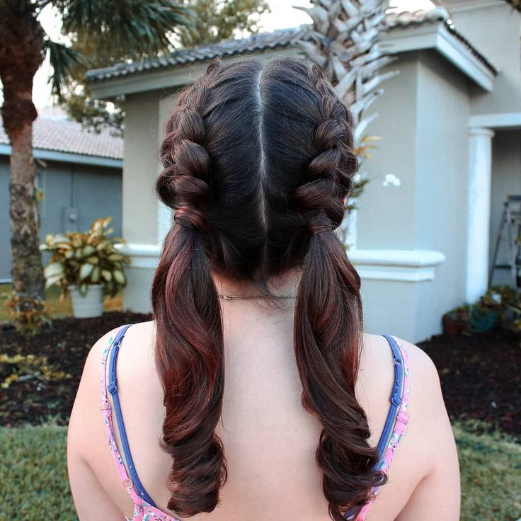 Bikini brunette two pigtails hair