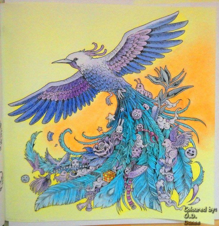 Animorphia - Madár Készült: Kores ceruzák  Háttér: Colorino Artist Porpasztell  Animorphia - Bird Coloured with Kores pencils  Background: Colorino Artist Soft Pastels