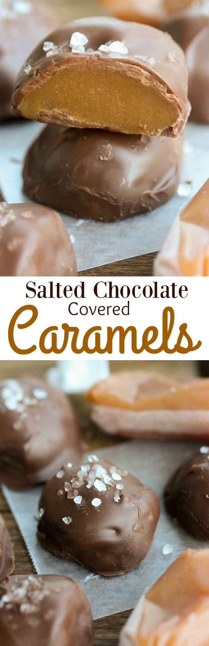Salted Chocolate Covered Caramels-Soft homemade caramels covered in chocolate and sprinkled with sea salt.   Tastes Better From Scratch