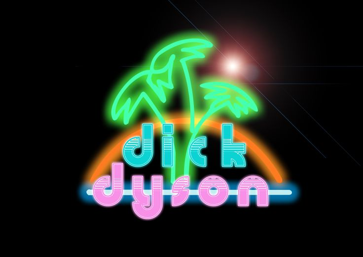 Was messing around with some image style for my mate who's DJ name is Dick Dyson. He said that he wanted a retro/Miami vice style logo so I took the colours of Miami Vice and applied them to a cool retro font. One of the things I love most about that era was the dawn of the neon sign so I decided to implement a sunset scene in neon style.
