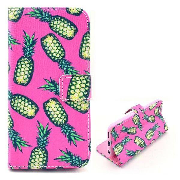 Ananas roze booktype hoesje voor iPhone 6 Plus