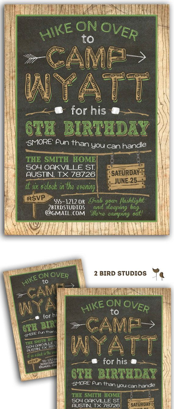 wording ideas forst birthday party invitation%0A Camping invitation  Camping party invitation camping birthday party  DIY  Printable invitation  Chalkboard campout sleepover invitation