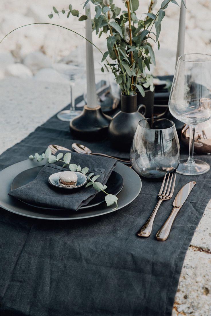 Tischdekoration Schwarz Kupfer Fur Hochzeit Hochzeitsdekoration