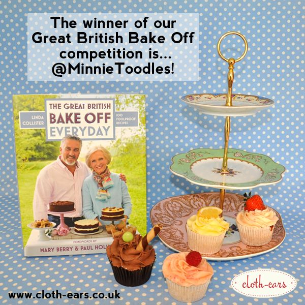 The winner of our Great British Bake Off competition is... @MinnieToodles!  Congratulations! You have won a copy of a Bake Off book and a beautiful regency cake stand!  Look out for more competitions and exciting new product announcements soon!