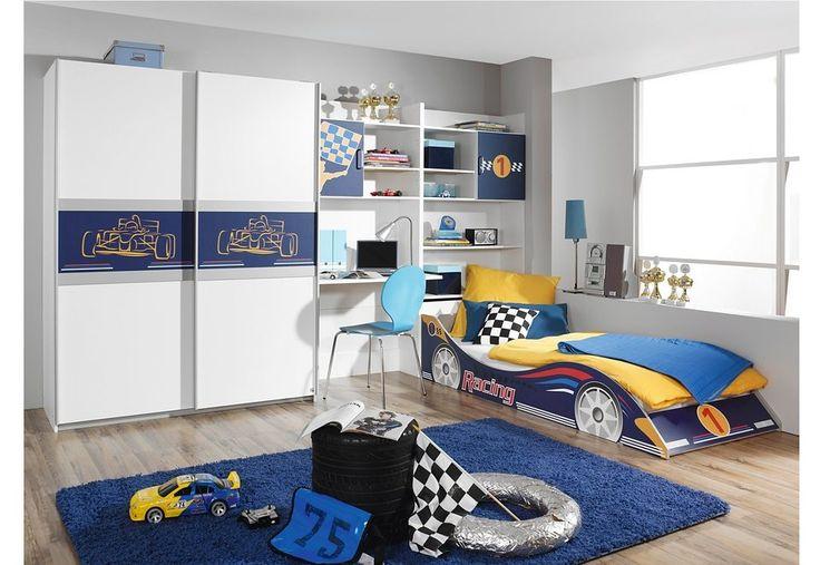 Kinderzimmer Idee in blau/weiß mit Rennwagen-Bett