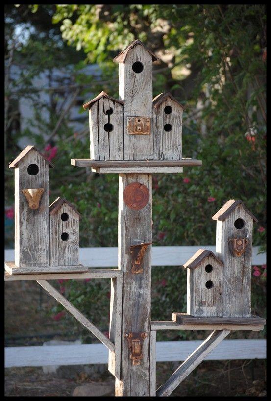 Bird CondoBirdhouses Gardens, Birdhouses On Fence, Feeders, Bird Houses, Wood Birds House, Birdhouses Ideas, Birds Of Paradise, Rustic Birdhouses, Birds Condo