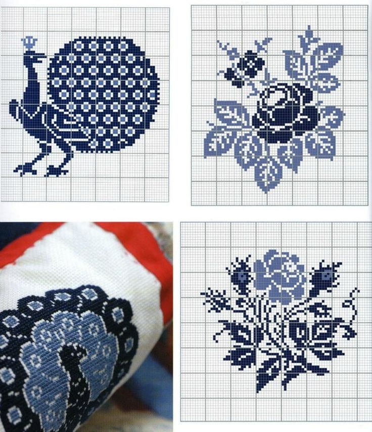 Peacock and roses cross stitch patterns