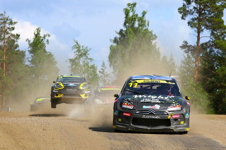 Petter Solberg leading Tanner Foust over the crest in Finland round of the FIA European Rallycross Championship presented by Monster Energy  Dirt // Tarmac // 600bhp #RallycrossRX // RXUnleashed Find out more at www.rallycrossrx.com