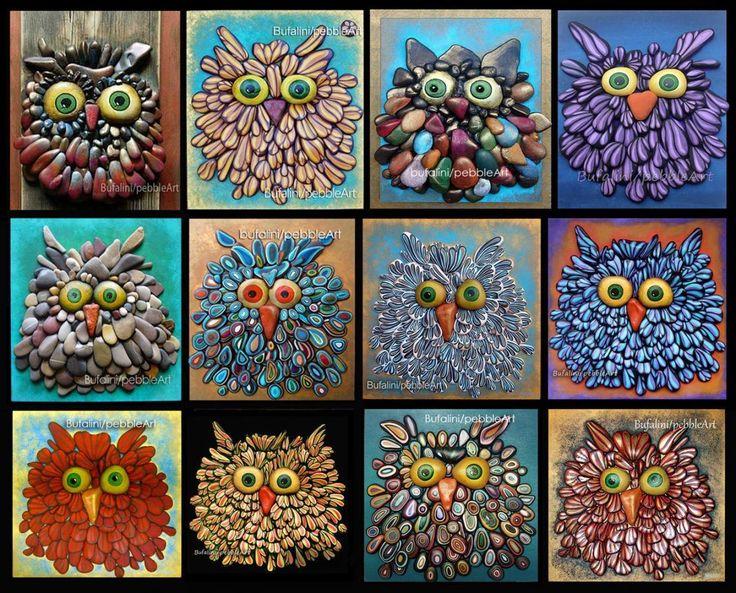 Come tutti i miei soggetti anche i gufi sono realizzati mediante assemblaggio di sassi dipinti fissati su una base di legno dipinta e trattata.