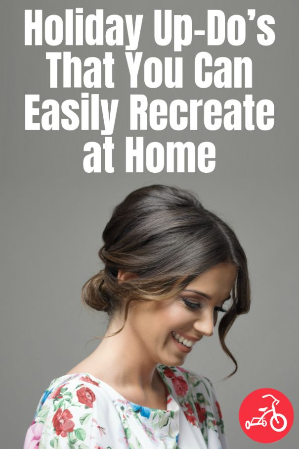 Easy Updos for the Holidays that you can do yourself! #holidays #updos #mombun