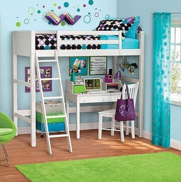 Furniture, Green And Blue Ideas For Room With The Fresh And Best Inspiration With White Bunk Bed With Desk With The Comfortable Area That Look So Neat With Rug And Blue Curtain To Cover The Window ~ The Comfortable Design Of Top Bunk Bed With Desk Underneath