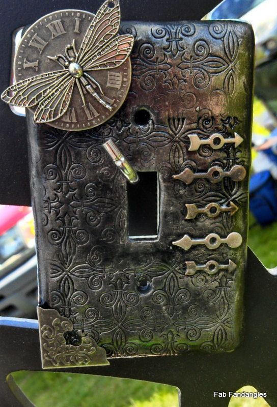 Steampunk Inspired Dragonfly Time Polymer Clay Light Switch Plate Cover